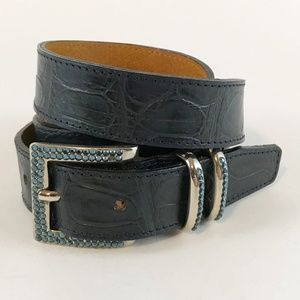 Dark Blue Crocodile Belt with Light Blue Stones